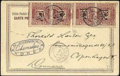 Korea 1901.1 Ch. On 25 P. lilac red, two horizontal pairs with decorative defective or badly placed perforation on picture postcard with two ring ...