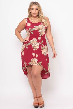 #curvysense #floral #burgundy #red #spring #fashion #summer #high #low #dress #style #tank