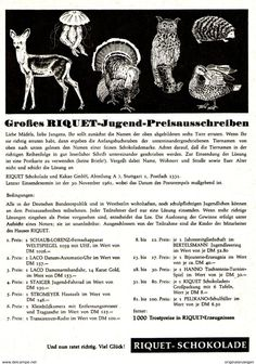 Original-Werbung/ Anzeige 1961 - RIQUET SCHOKOLADE - Ca. 120 X 170 Mm - Werbung