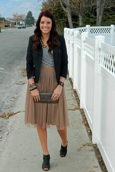 casual stripes with a tulle skirt and a blazer. Outfit from The Red Closet Diary.