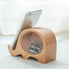 Fancy | Wood Elephant Piggy Bank & Phone Holder
