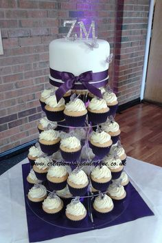 Purple Cupcake Tower Wedding Cake