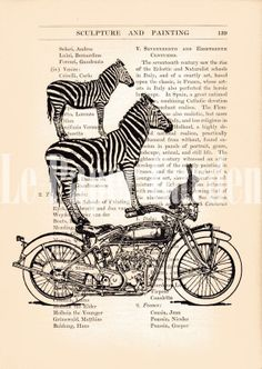 Upcycled Encyclopedia/Dictionary Art Page Zebras by lepapergarden, $10.00