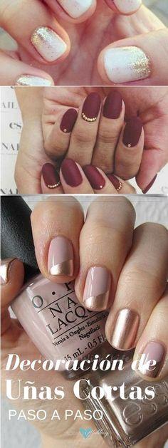 Ideas de decoración de uñas cortas paso a paso. Diy Nails, Cute Nails, Pretty Nails, Nail Art Rosa, Gucci Nails, Types Of Nails, Beautiful Nail Designs, Holiday Nails, Nail Arts