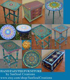 sur-commande-vendu-ceci-est-un-exemple-meubles-peints-a-la-main-style-boho-meubles-peints/ - The world's most private search engine Whimsical Painted Furniture, Bohemian Furniture, Painted Chairs, Hand Painted Furniture, Funky Furniture, Paint Furniture, Bohemian Decor, Furniture Makeover, Painted Tables