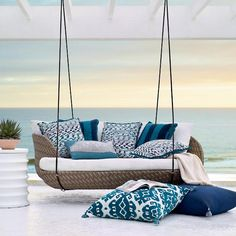 Malia Hanging Daybed In Pebble Finish - Rain Sailcloth Cobalt , Custom Sunbrella Rain, Special Order - Frontgate Outdoor Garden Furniture, Rustic Furniture, Outdoor Decor, Antique Furniture, Outdoor Living, Furniture Ideas, Poolside Furniture, Furniture Design, Furniture Layout