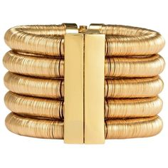 Pre-owned Balmain X H&m Limited Multistrand Cuff Bracelet ($688) ❤ liked on Polyvore featuring jewelry, bracelets, accessories, gold, gold jewelry, gold cuff bracelet, gold cuff bangle bracelet, pre owned jewelry and gold bangles