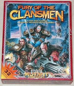 Fury of the Clansmen from 1994 by Target Games. This Sci-Fi Co-operative Fighting Board Game is a rare one. Part of the Mutant Chronicles Series. It includes 32 minis which at the time this was made was a lot. Fury of the Clansmen can also be combined with Pressman's Siege of the Citadel game to create very large battles. | Image | BoardGameGeek