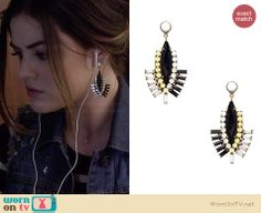 Aria's statement earrings on Pretty Little Liars.  Outfit Details: http://wornontv.net/33657/ #PLL