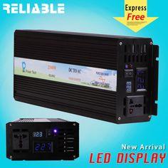 2500W Pure Sine Wave Inverter Power Inverter 12/24/48V to 120/220V LED display  #RELIABLE