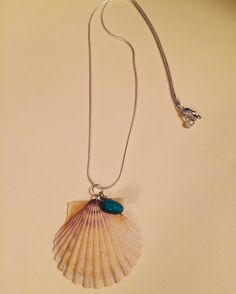 Scallop shell with turquoise on sterling silver chain picked in Middletown, RI #handmade #jewelrydesign #oceanart #shelljewelry #shells
