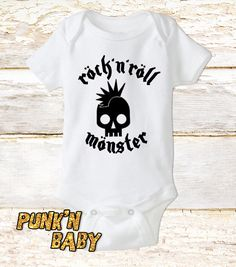 Rock'n Roll Monster onesie, Punk Baby Clothes, Baby Shower Gift, Unique Baby Gift, Punk Rock Infant Bodysuit, White Onesie by PunkNBaby on Etsy https://www.etsy.com/listing/289767489/rockn-roll-monster-onesie-punk-baby
