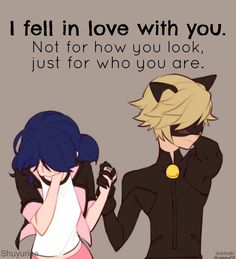Awwwww! Miraculous tales of ladybug and cat noir Adrien and Marionette.