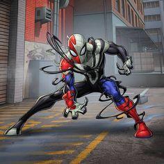 spiderman by vincent Black Spiderman, Spiderman Art, Amazing Spiderman, Spiderman Symbiote, Spiderman Cosplay, Marvel Art, Marvel Heroes, Marvel Characters, Symbiotes Marvel