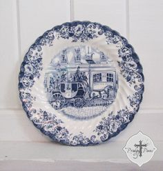 Vintage Blue Transferware Ironstone Plate by Johnson Bros. Coaching Scenes