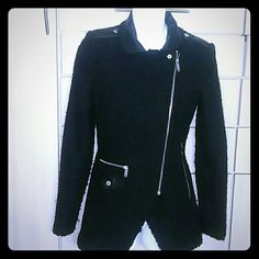 ZARA  black coat, sz XS , fresh fashion Lot of metal  hardware and leather like trims make this cute coat a very fashionable & graceful piece ; is sz XS;  will also fit Sz S, is not very heavy , just purchased. just worn once , like new condition! !! Zara Jackets & Coats