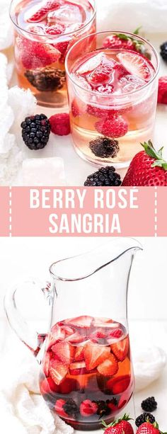 Berry Rosé Sangria is the perfect summer sipper! Sweet, but not too sweet and loaded with tons fresh berries. It will be a hit at all your summer get togethers. Sangria Rosé, Strawberry Sangria, Rose Sangria, Sangria Party, Blackberry Sangria, Non Alcoholic Sangria, Cranberry Juice, Best Cocktail Recipes, Sangria Recipes