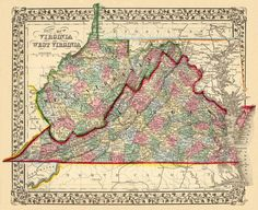 """Vintage state map of West Virginia and Virginia  - 1870 PRINT - 11 x 14"""" (Larger sizes available)"""