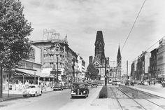Kurfürstendamm Richtung Gedächtniskirche mit Straßenbahn, 1960er