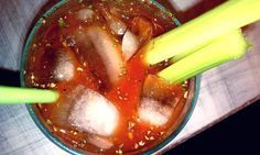 Spicy Hot V8 juice (or original, if you're lame)  Vodka — live it up, get the Goose.  Worcestershire sauce (Lea & Perrins!)  Barbecue sauce  Tabasco sauce  White vinegar  Kosher salt  Cracked black pepper  Smoked paprika  Chili powder  Garlic powder  Oregano  Parsley  Basil  CELERY. CELERY. TOO MUCH CELERY.
