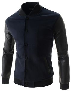 (NEJ02-NAVY) Mens Slim China Collar Arm Synthetic Leather Patched Snap Button Jacket
