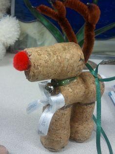 Champagne Cork Reindeer Ornaments