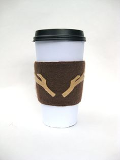 Antlers Cup Cozy  Felt Coffee Cup Sleeve / Faux by QuarterLifeLuck #hudsonvalley, #hvnyteam