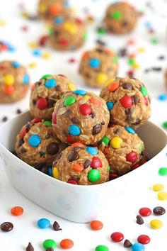 No-Bake Monster Cookie Balls - no egg, flour or refined sugar in these easy bite-sized sweet treats that taste just like everyone's favorite monster cookie!