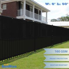 Ek Black 6 X50 Ft Fence Windscreen Privacy Screen Shade Cover Fabric Mesh Garden