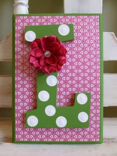Hot Pink Green Custom Initial Wall Letters Monogram Name Personalized Child Girls Room Girly New Baby Whimsical Flowers Bright Sparkle