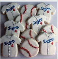 "Tara on Instagram: ""Play ball!! ⚾️❤️ #butimagiantsfantho #cookies #royalicing #baseballcookies #dodgers #baseball #baseballjerseys #sugarcookies #cookiefavors"""