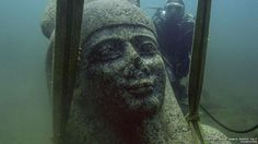 By the 8th century AD, the sea had reclaimed the cities of Thonis-Heracleion and Canopus and they lay hidden below the seabed for centuries. This smiling statue being hoisted from the sea bed is the god Hapy who symbolised the flooding of the Nile.