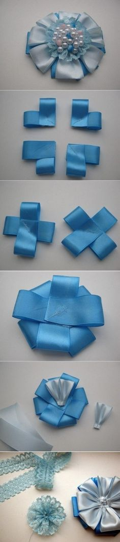 DIY Satin Ribbon Brooch Flower DIY Satin Ribbon Brooch Flower by diyforever