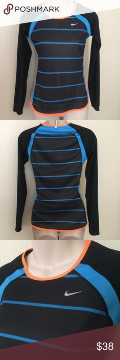 """Nike Striped Running Shirt Dri-Fit Extra Small This is a new Nike Dri-fit running top. Striped 3/4 sleeve. Black,blue and orange. Size extra small. Bust 33"""" length 24"""". Never been worn. Nike Tops Tees - Short Sleeve"""