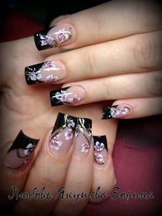 Black top with flowers Butterfly Nail Designs, Nail Tip Designs, Cute Nail Art Designs, French Nail Designs, Creative Nail Designs, Colorful Nail Designs, Beautiful Nail Designs, Creative Nails, Acrylic Nail Designs