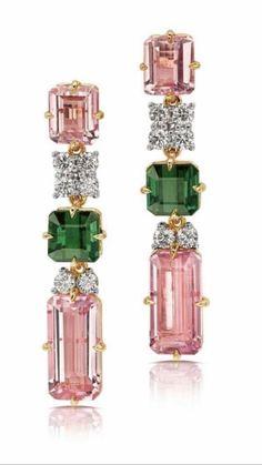 Pamela Huizenga Jewelry Tourmaline & Diamond Linear Drop Earrings – Jewelry And Accessories Jewelry Box, Vintage Jewelry, Jewelry Accessories, Fine Jewelry, Jewelry Design, Amber Jewelry, Antique Jewellery, Gold Jewellery, Silver Jewelry