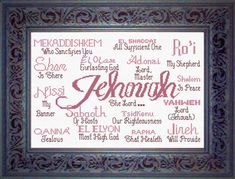 Jehovah - names of God cross stitch.how pretty is this? Embroidery Stitches Tutorial, Crewel Embroidery, Cross Stitch Embroidery, Embroidery Patterns, Machine Embroidery, Cross Stitch Bookmarks, Counted Cross Stitch Patterns, Cross Stitch Designs, Jehovah Names