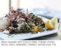 Grilled Calamari with Roasted fennel, poblano peppers, nicoise olives ...
