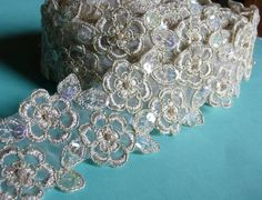 $7.25 Beaded Lace in Gold Champagne with Faux Pearls for Bridal, Appliques, Headbands, Costume Design