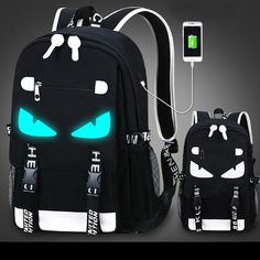 Waterproof Oxford Cloth USB Interface Fluorescence Travel Backpack Luminous Cartoon Printing School Backpack #bag #Backpack #school Retro Backpack, Travel Backpack, Fashion Backpack, Cool Backpacks, College Backpacks, Cartoon Bag, Canvas Backpack, North Face Backpack, Oxford