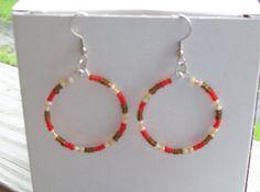 Multicolor Brown and Red Beaded Hoop Earrings by Sapphire107, $8.00