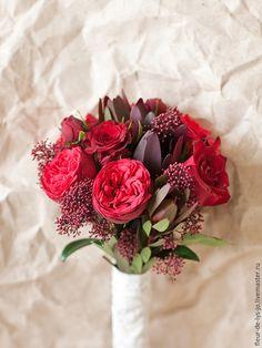 Свадебные цветы ручной работы. Ярмарка Мастеров - ручная работа. Купить Букет невесты / свадебный букет. Handmade. Бордовый