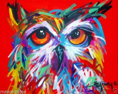 ABSTRACT ORIGINAL ART COLORFUL CANVAS PAINTING-,16X20 OWL M.BrOaDWAY