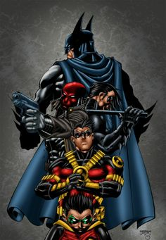 Batman Redhood, Nightwing, Red Robin, &  Robin