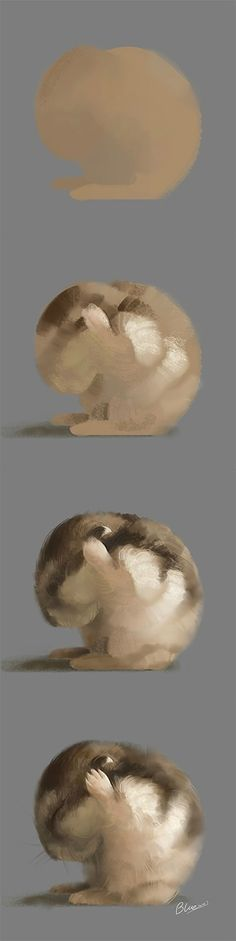Creative digital tutorial painting of a chipmunk