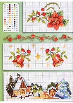 Christmas snowy landscapes with flowers - free cross stitch Xmas Cross Stitch, Cross Stitch Borders, Cross Stitch Charts, Cross Stitch Designs, Cross Stitching, Cross Stitch Embroidery, Cross Stitch Patterns, Christmas Cross, Christmas Diy