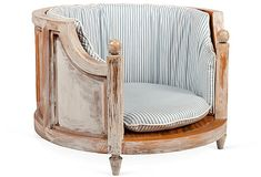 Ella would LOVE this One Kings Lane - Gaye Tapp, Little Augury - French-Style Dog Bed w\ Ticking Cushion Cute Dog Beds, Pet Beds, French Dogs, Pet Urine, Dream House Interior, Dog Rooms, Pet Furniture, Cabin Furniture, We Are The World