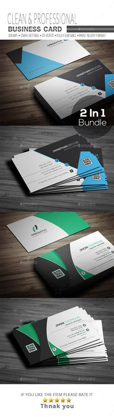 #Business #Card #Template #Bundle 2 In 1 - #Corporate Business Cards #Design. Download here: https://graphicriver.net/item/buriness-card-bundle-2-in-1/19544237?ref=yinkira