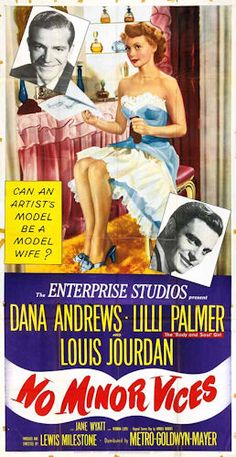 No Minor Vices (MGM, Three Sheet X Comedy. Starring Dana Andrews, Lilli Palmer, - Available at Sunday Internet Movie Poster. Two Movies, Family Movies, Classic Movies, Original Movie Posters, Movie Poster Art, Film Posters, Dolby Digital, Lilli Palmer, Movies
