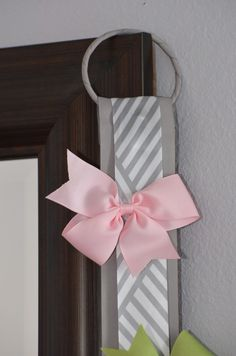 Hair Bow Holder - Grey and White